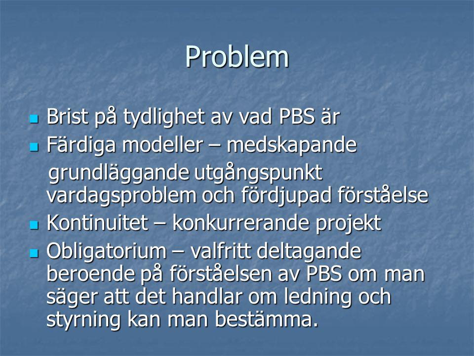 Problem Brist på tydlighet av vad PBS är
