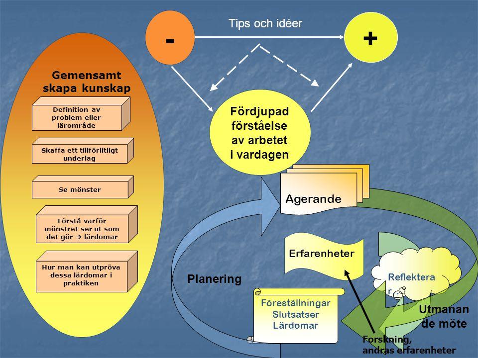 - + Tips och idéer Fördjupad förståelse av arbetet i vardagen Agerande