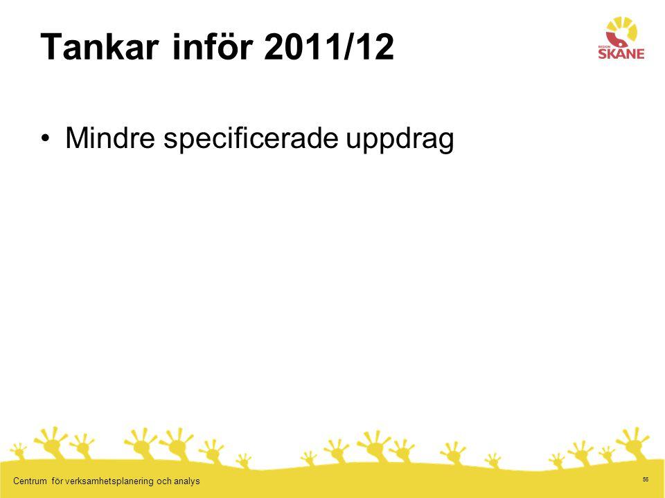 Tankar inför 2011/12 Mindre specificerade uppdrag