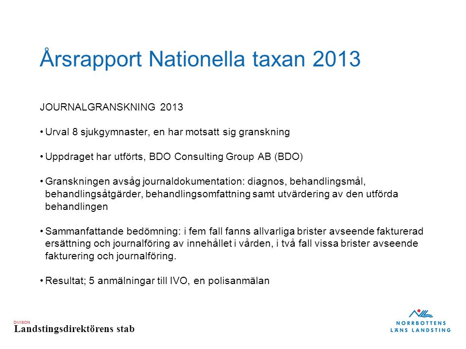Årsrapport Nationella taxan 2013