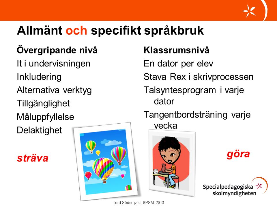 Allmänt och specifikt språkbruk