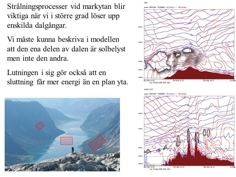 Strålningsprocesser vid markytan blir viktiga när vi i större grad löser upp enskilda dalgångar.