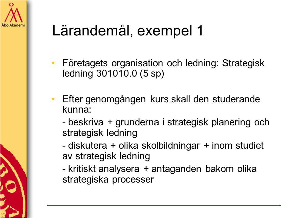 Lärandemål, exempel 1 Företagets organisation och ledning: Strategisk ledning 301010.0 (5 sp) Efter genomgången kurs skall den studerande kunna: