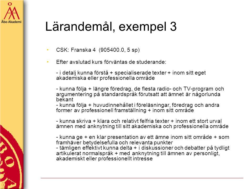 Lärandemål, exempel 3 CSK: Franska 4 (905400.0, 5 sp)
