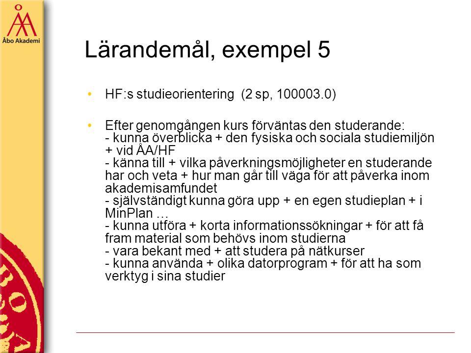 Lärandemål, exempel 5 HF:s studieorientering (2 sp, 100003.0)