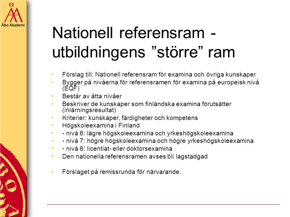 Nationell referensram - utbildningens större ram