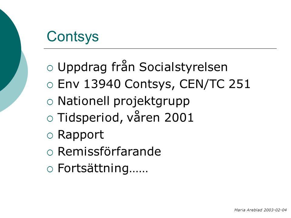 Contsys Uppdrag från Socialstyrelsen Env 13940 Contsys, CEN/TC 251