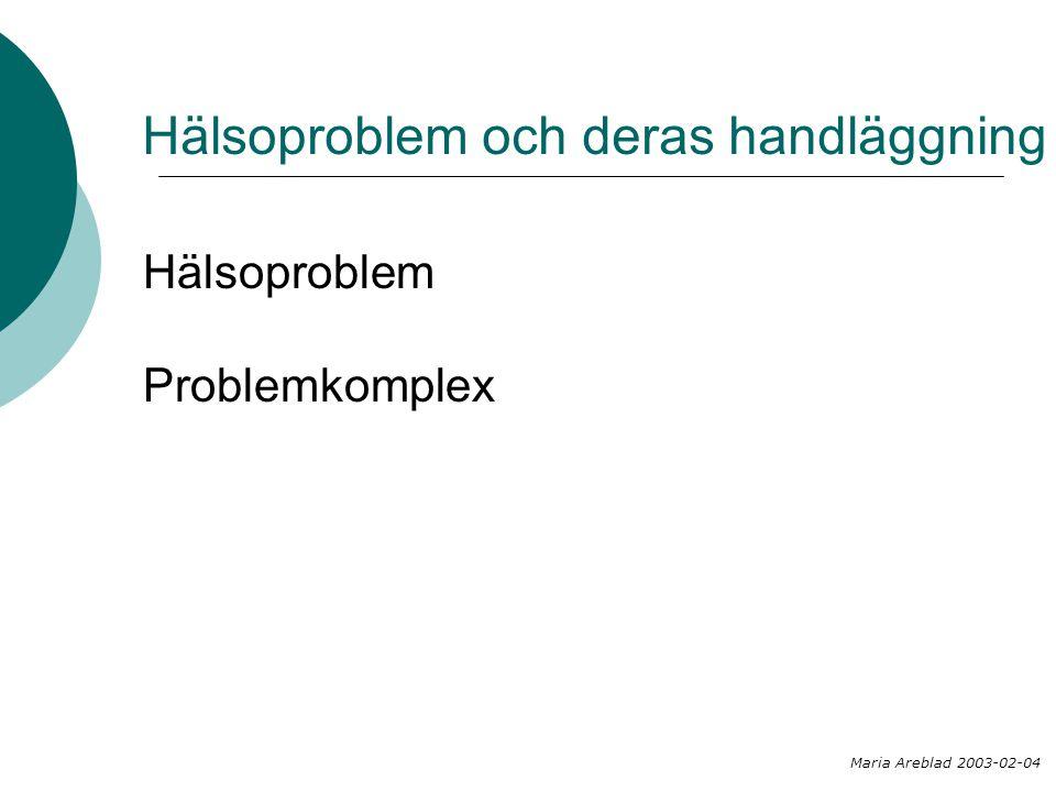 Hälsoproblem och deras handläggning
