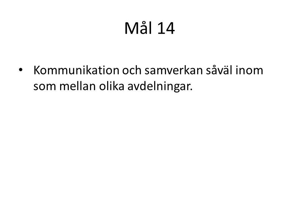 Mål 14 Kommunikation och samverkan såväl inom som mellan olika avdelningar.
