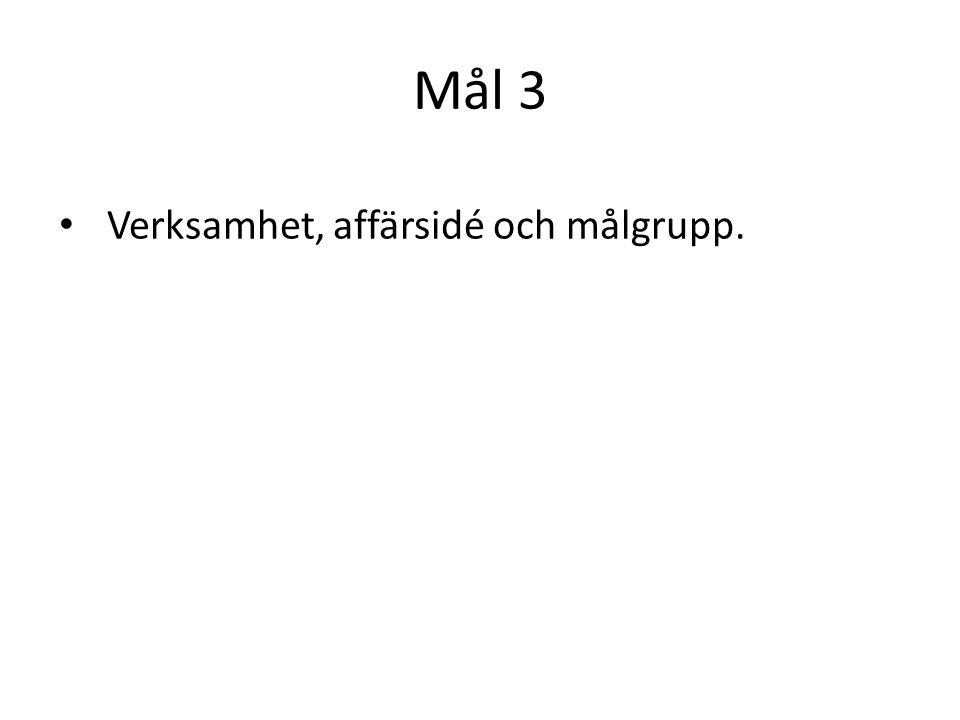 Mål 3 Verksamhet, affärsidé och målgrupp.