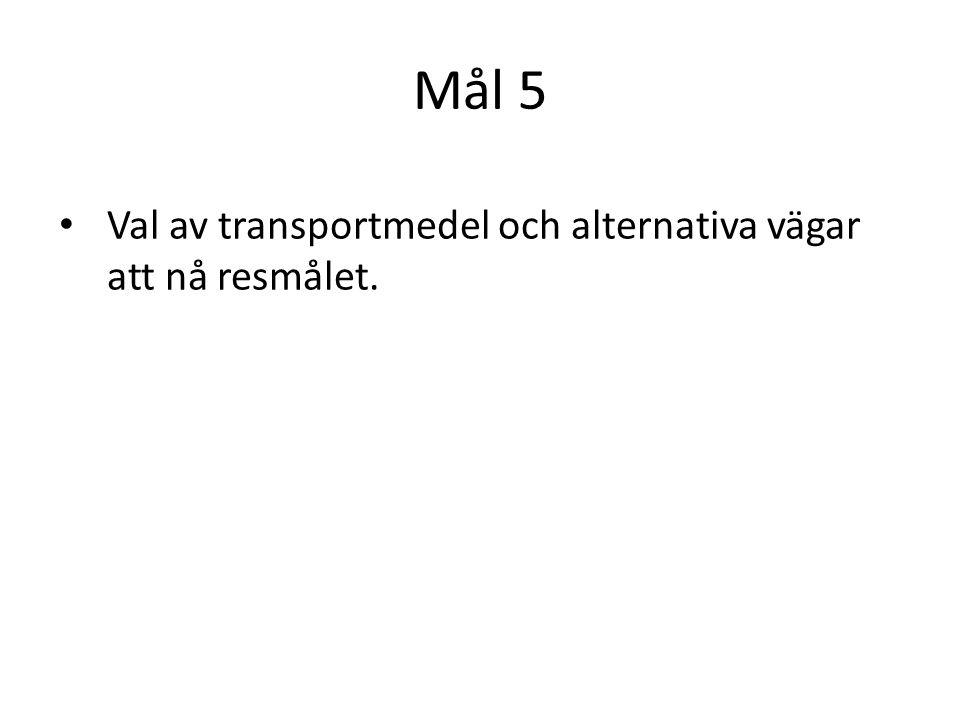 Mål 5 Val av transportmedel och alternativa vägar att nå resmålet.