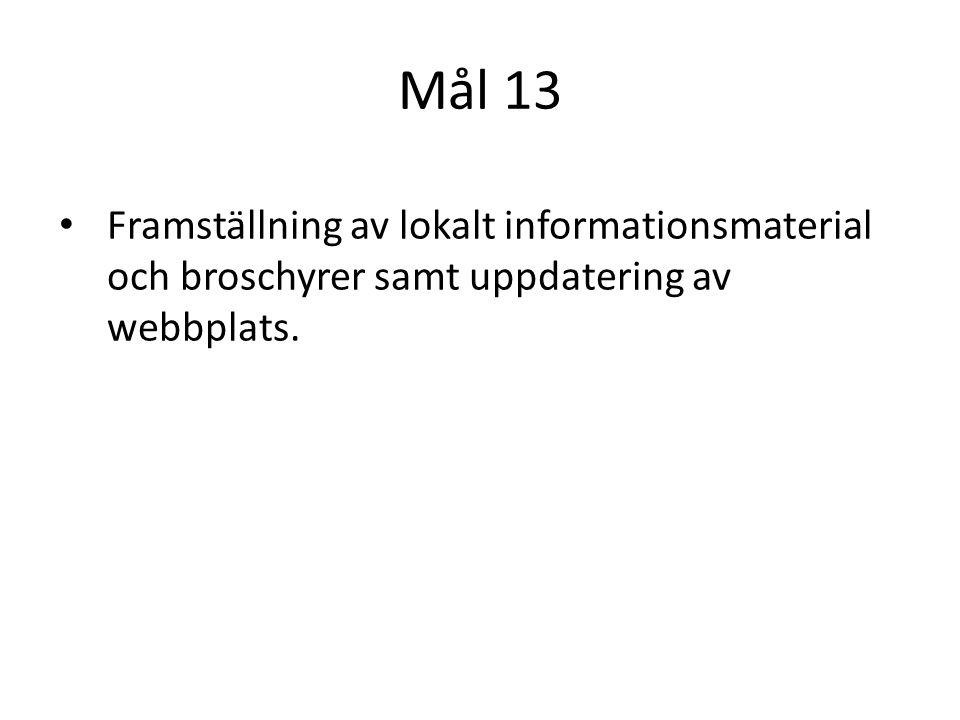 Mål 13 Framställning av lokalt informationsmaterial och broschyrer samt uppdatering av webbplats.