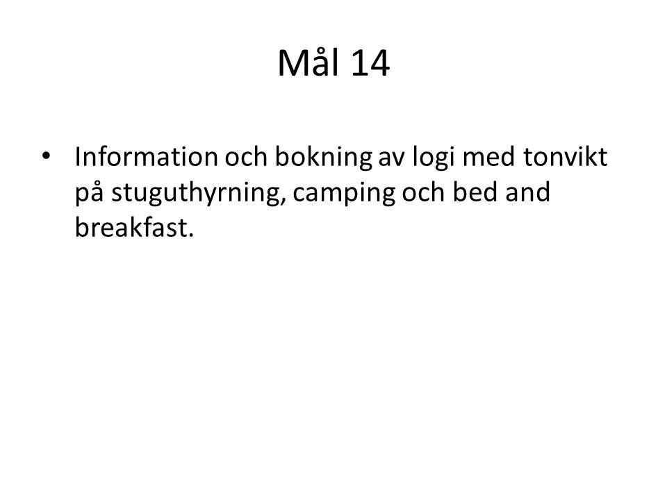 Mål 14 Information och bokning av logi med tonvikt på stuguthyrning, camping och bed and breakfast.