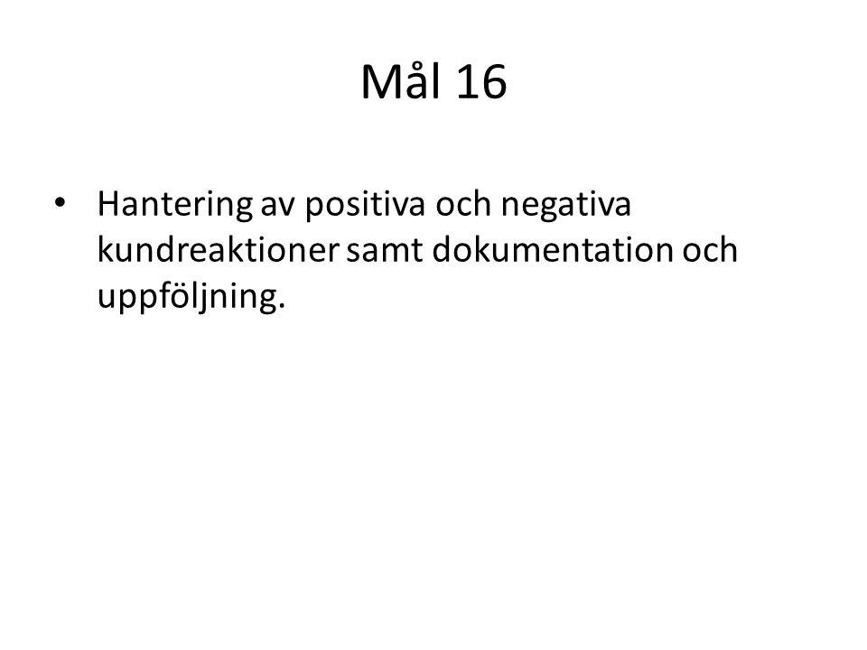 Mål 16 Hantering av positiva och negativa kundreaktioner samt dokumentation och uppföljning.
