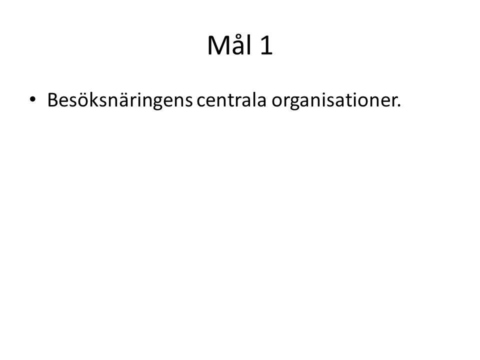 Mål 1 Besöksnäringens centrala organisationer.