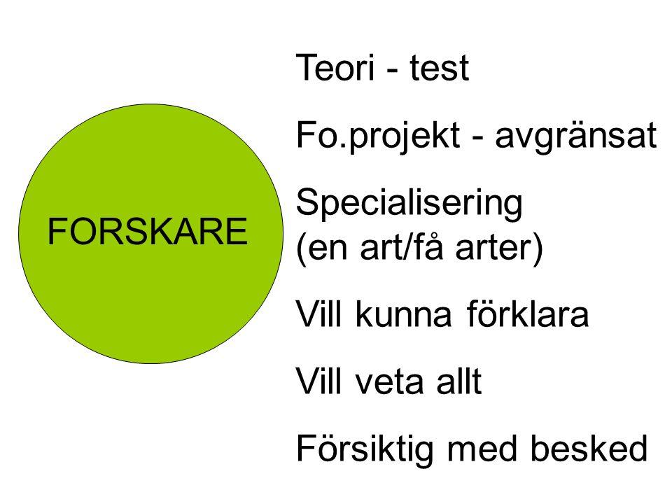 Teori - test Fo.projekt - avgränsat. Specialisering (en art/få arter) Vill kunna förklara.