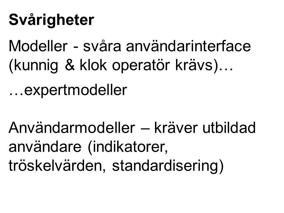 Svårigheter Modeller - svåra användarinterface (kunnig & klok operatör krävs)… …expertmodeller.
