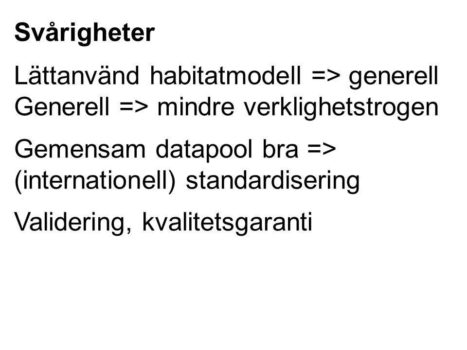 Svårigheter Lättanvänd habitatmodell => generell Generell => mindre verklighetstrogen. Gemensam datapool bra =>