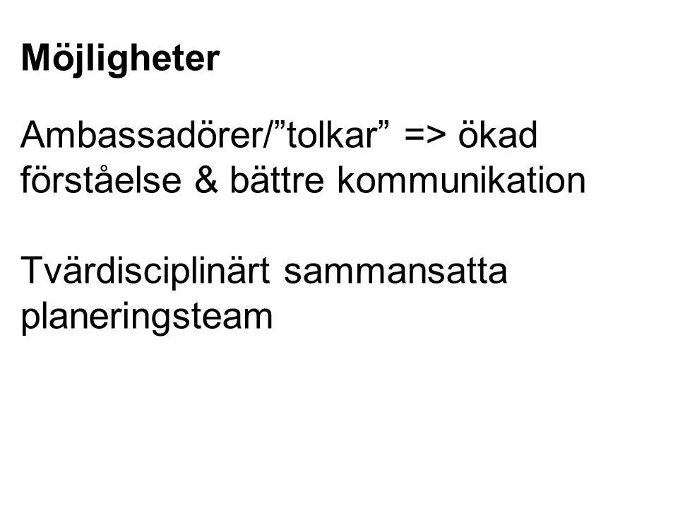 Möjligheter Ambassadörer/ tolkar => ökad förståelse & bättre kommunikation.