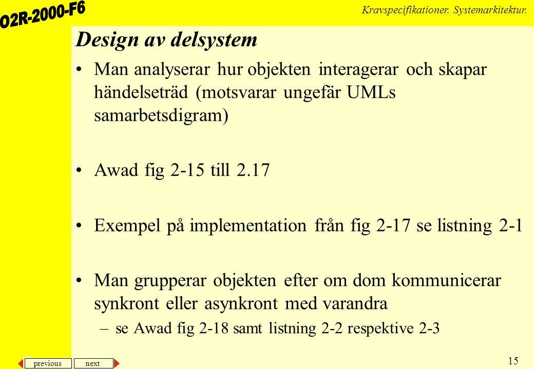 Design av delsystem Man analyserar hur objekten interagerar och skapar händelseträd (motsvarar ungefär UMLs samarbetsdigram)