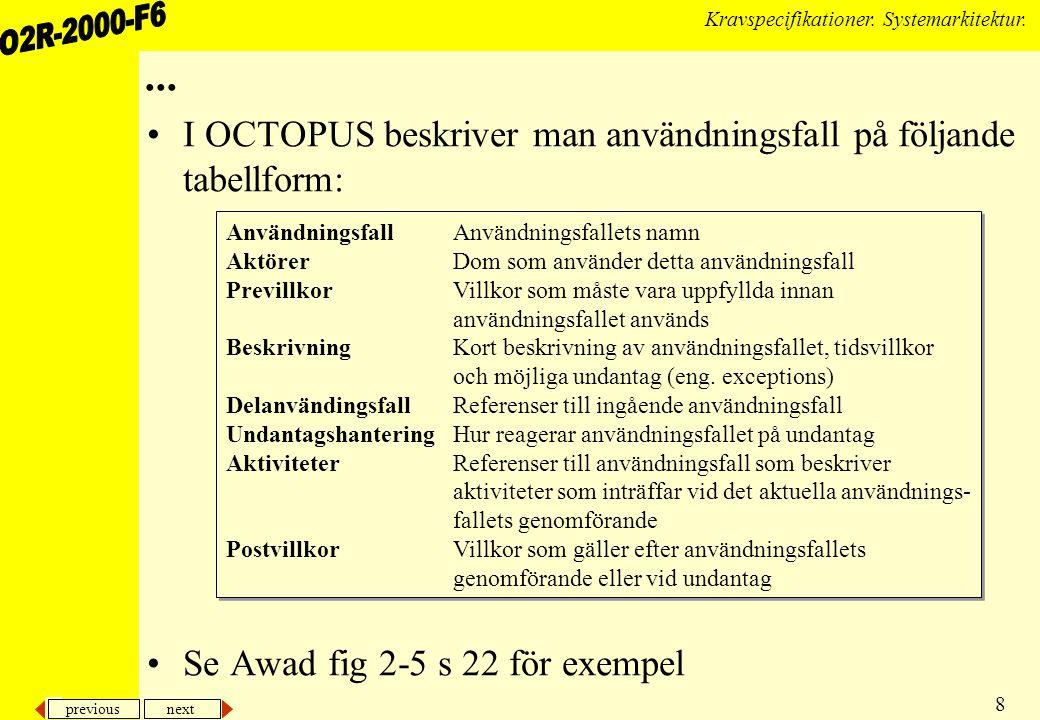 ... I OCTOPUS beskriver man användningsfall på följande tabellform: