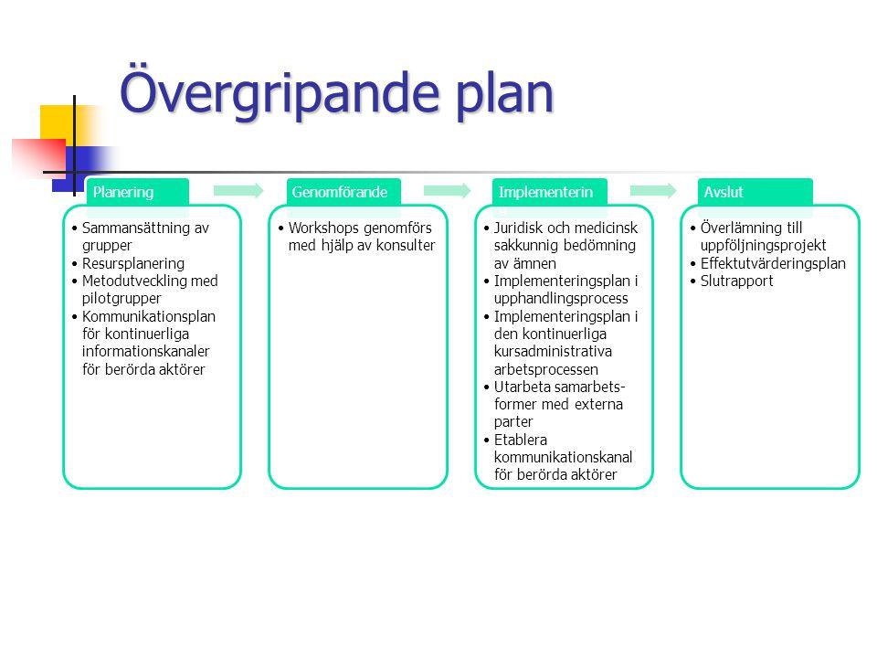 Övergripande plan Planering Sammansättning av grupper Resursplanering