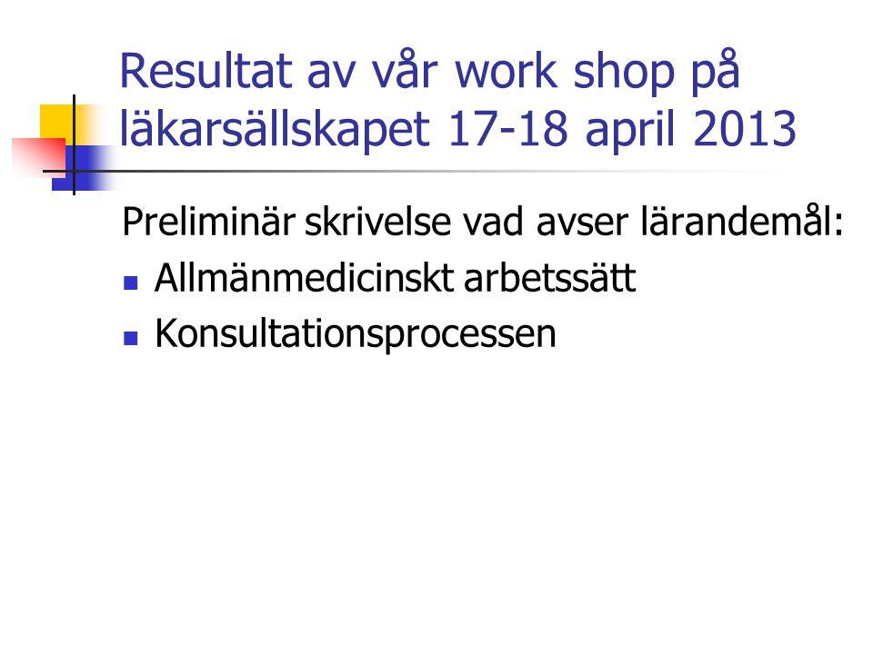 Resultat av vår work shop på läkarsällskapet 17-18 april 2013