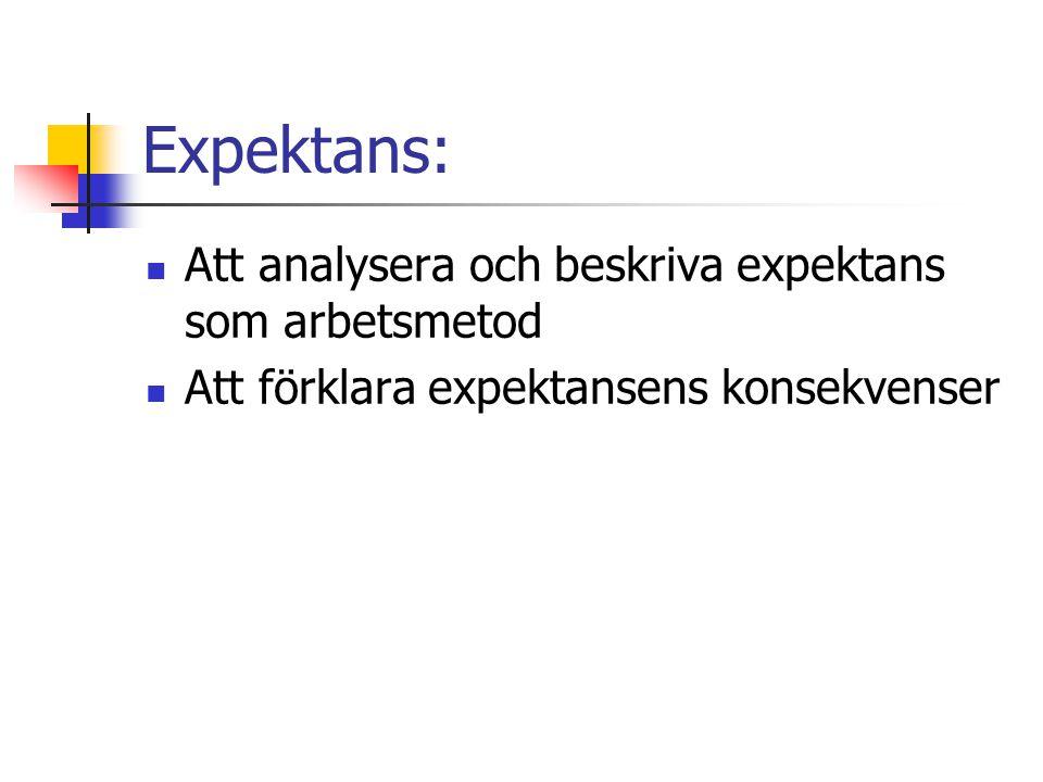 Expektans: Att analysera och beskriva expektans som arbetsmetod