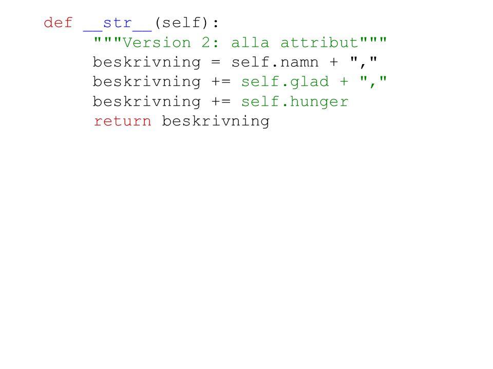 Version 2: alla attribut beskrivning = self.namn + ,