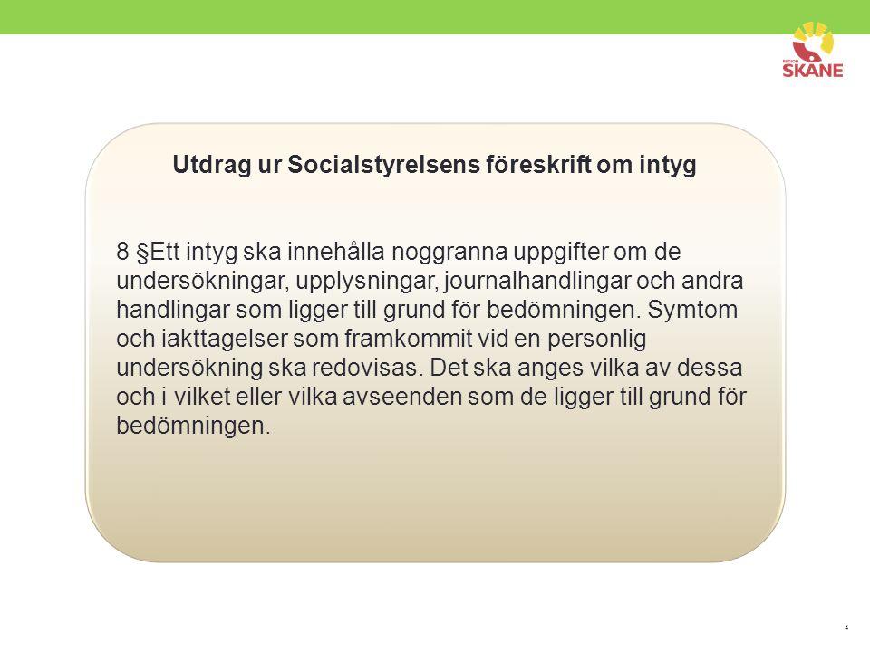 Utdrag ur Socialstyrelsens föreskrift om intyg