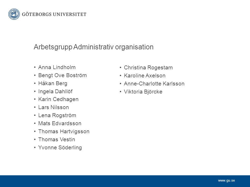 Arbetsgrupp Administrativ organisation
