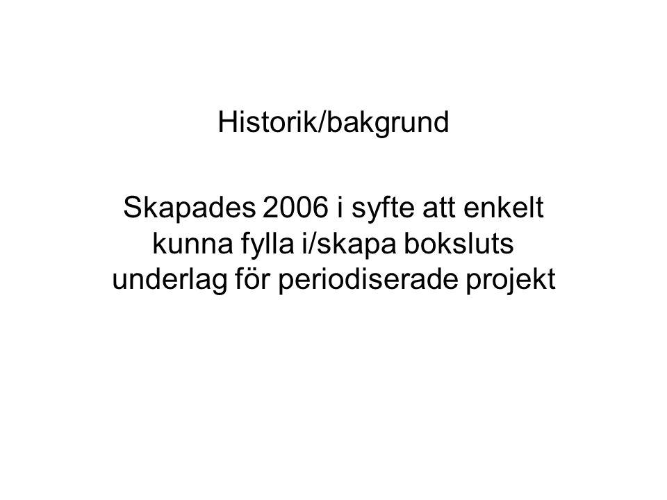 Historik/bakgrund Skapades 2006 i syfte att enkelt kunna fylla i/skapa boksluts underlag för periodiserade projekt.
