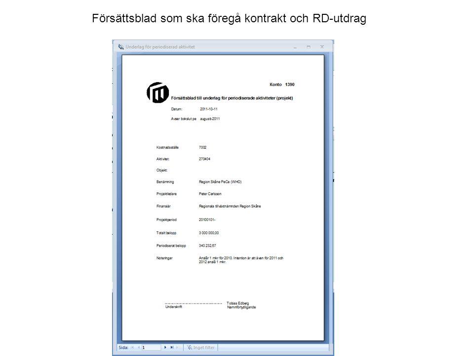 Försättsblad som ska föregå kontrakt och RD-utdrag