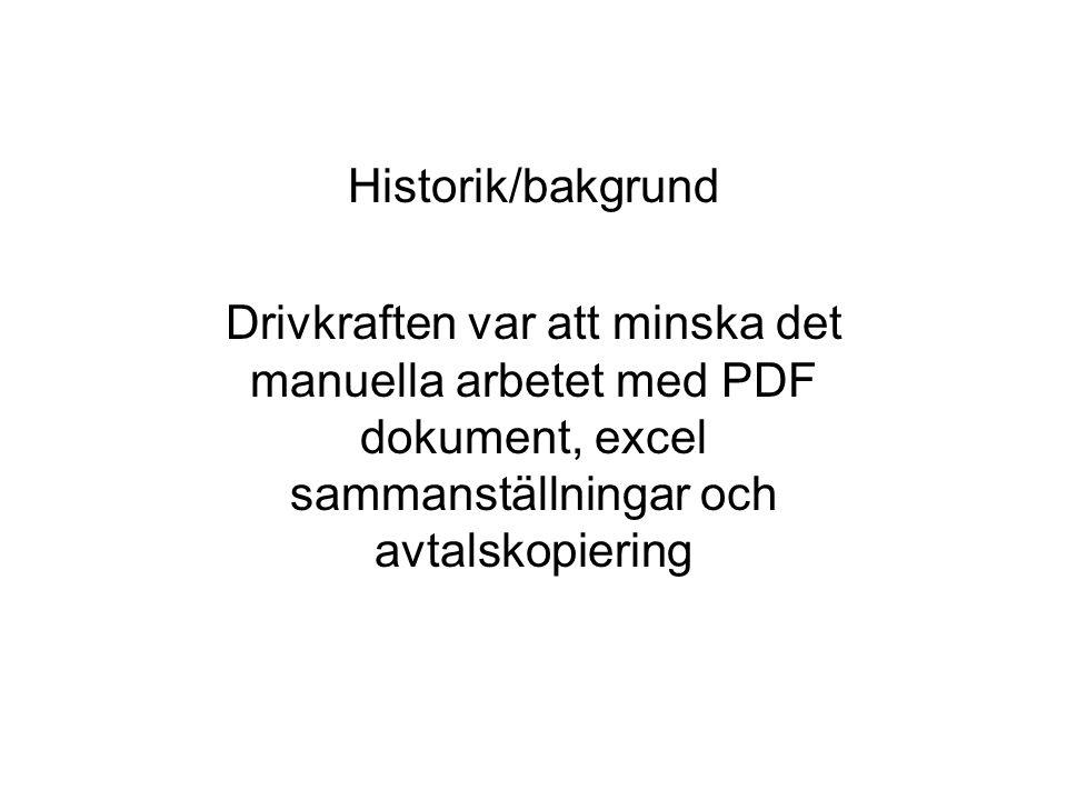 Historik/bakgrund Drivkraften var att minska det manuella arbetet med PDF dokument, excel sammanställningar och avtalskopiering.