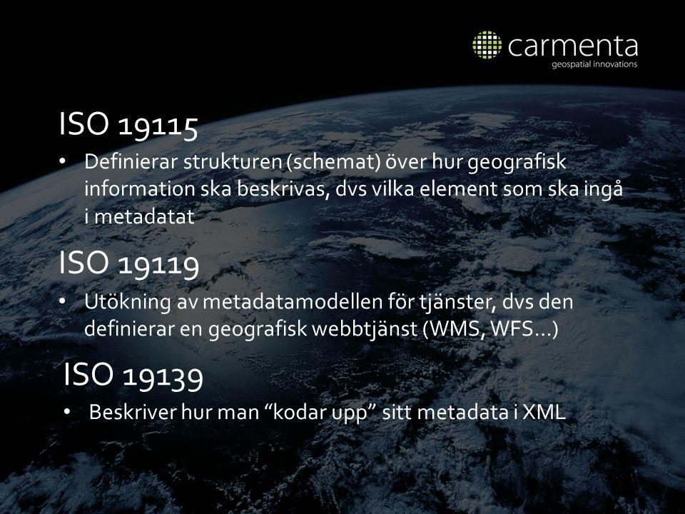 ISO 19115 Definierar strukturen (schemat) över hur geografisk information ska beskrivas, dvs vilka element som ska ingå i metadatat.