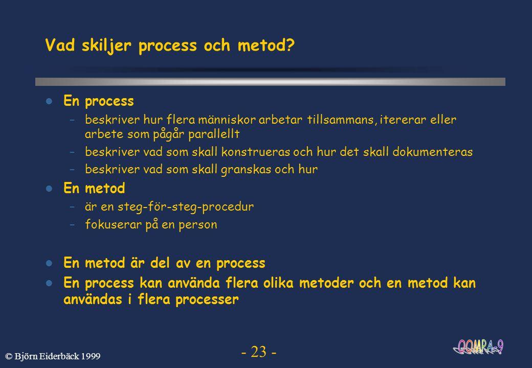 Vad skiljer process och metod