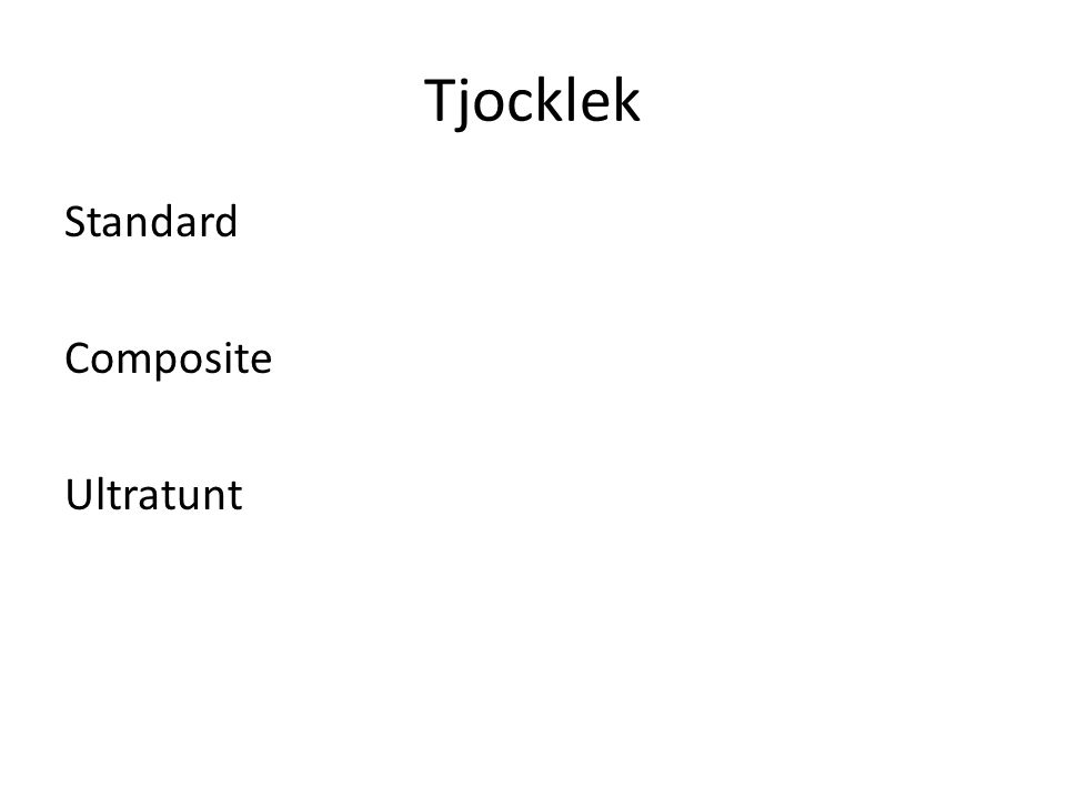 Tjocklek Standard Composite Ultratunt