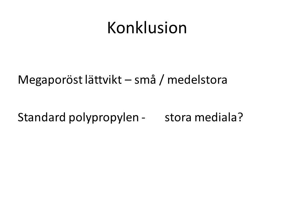 Konklusion Megaporöst lättvikt – små / medelstora Standard polypropylen - stora mediala