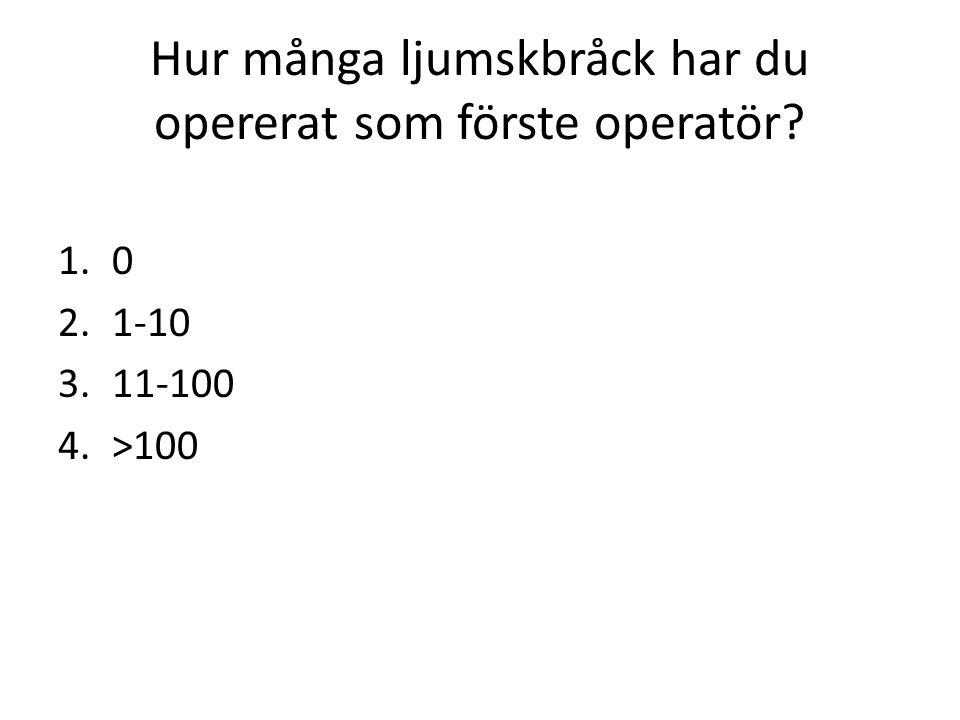 Hur många ljumskbråck har du opererat som förste operatör