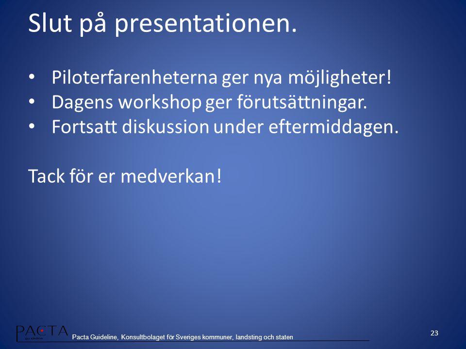 Slut på presentationen.