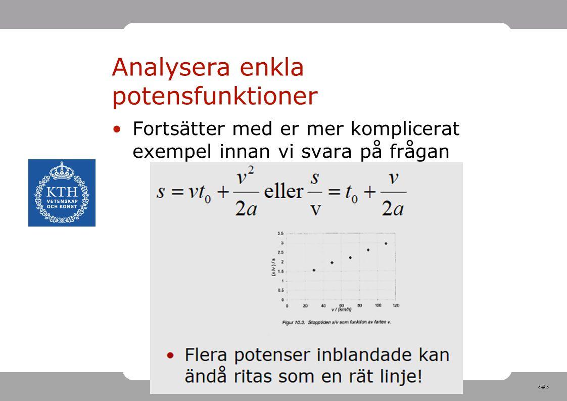 Analysera enkla potensfunktioner