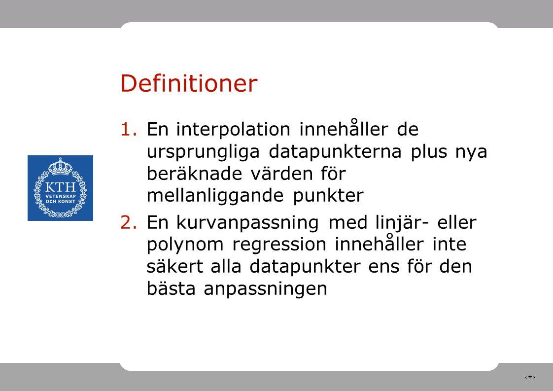 Definitioner En interpolation innehåller de ursprungliga datapunkterna plus nya beräknade värden för mellanliggande punkter.