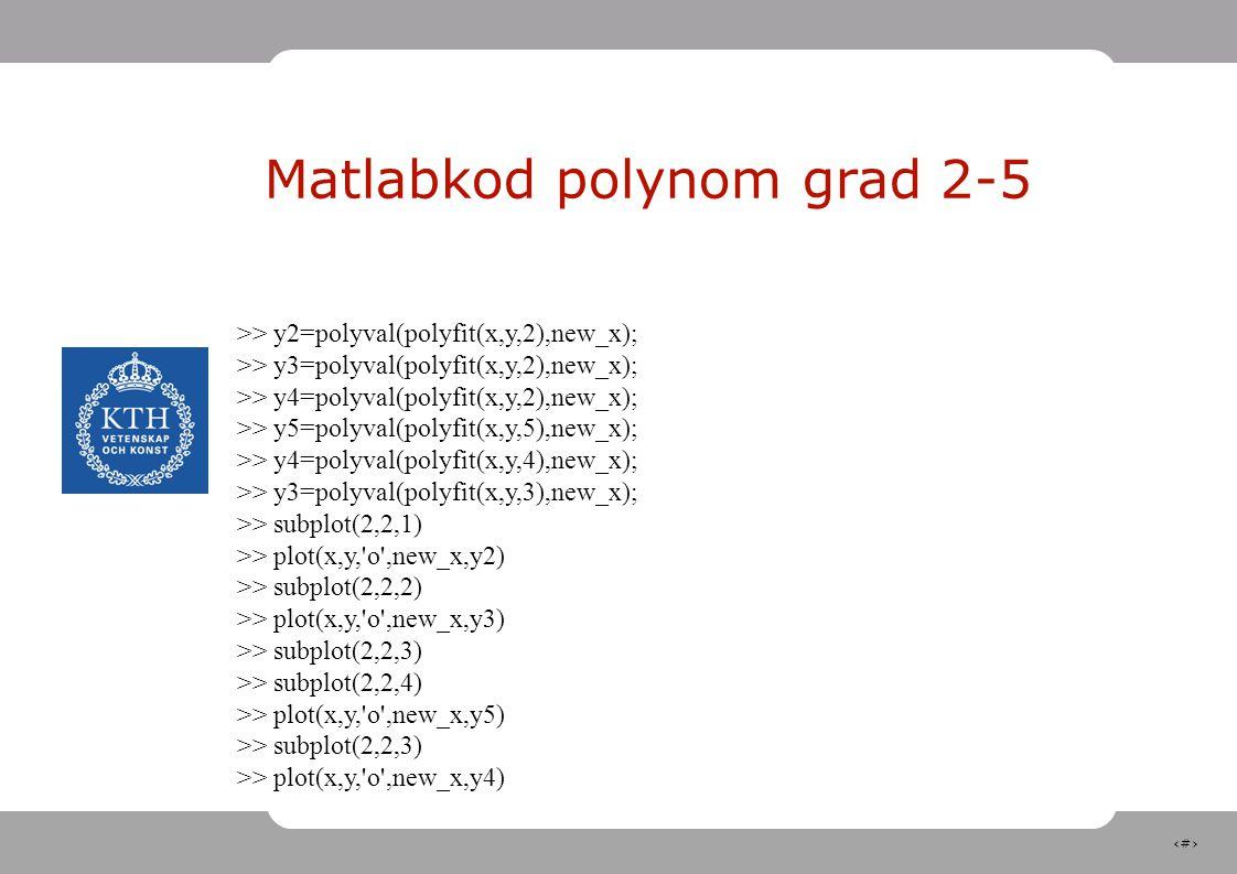 Matlabkod polynom grad 2-5