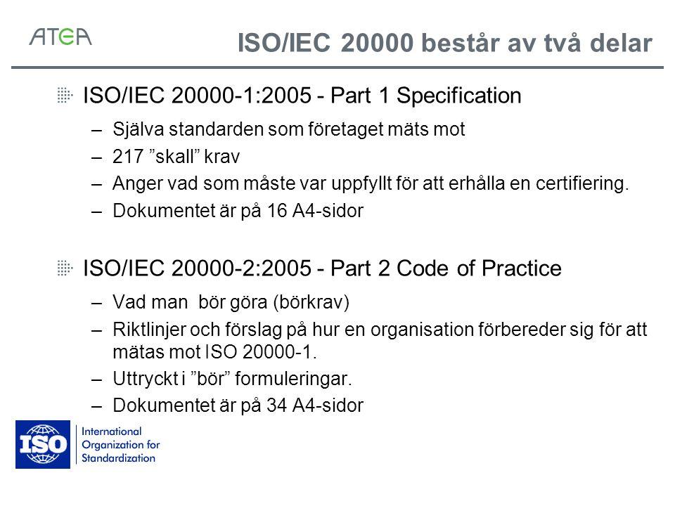 ISO/IEC 20000 består av två delar