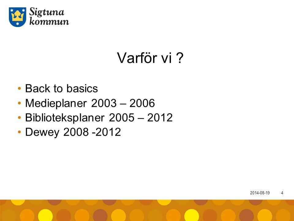 Varför vi Back to basics Medieplaner 2003 – 2006