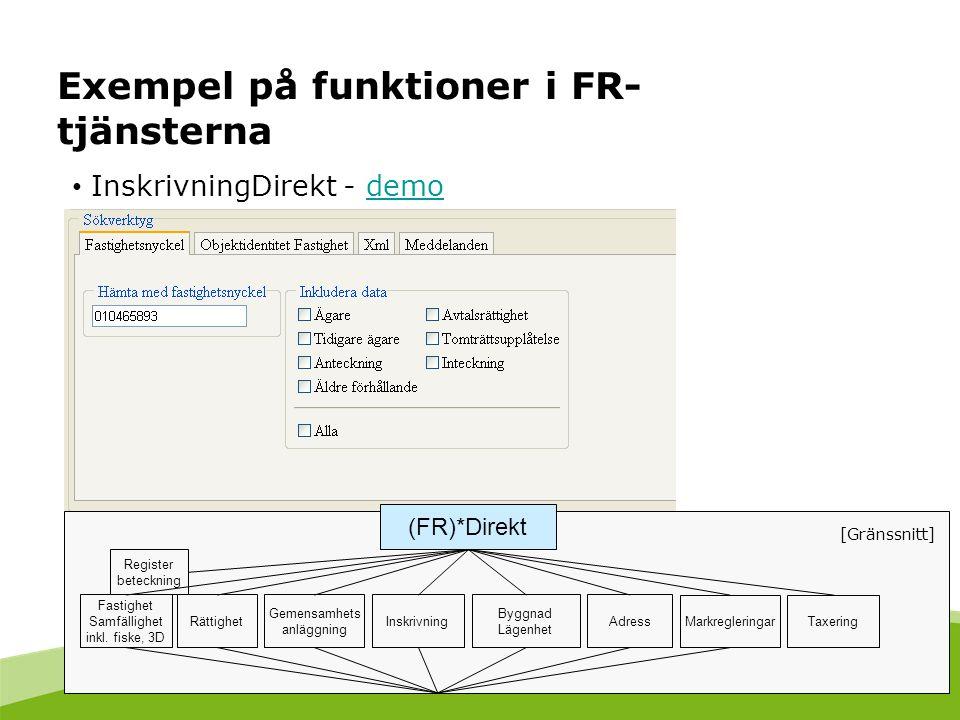 Exempel på funktioner i FR-tjänsterna