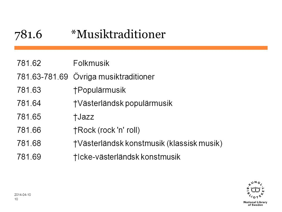 781.6 *Musiktraditioner