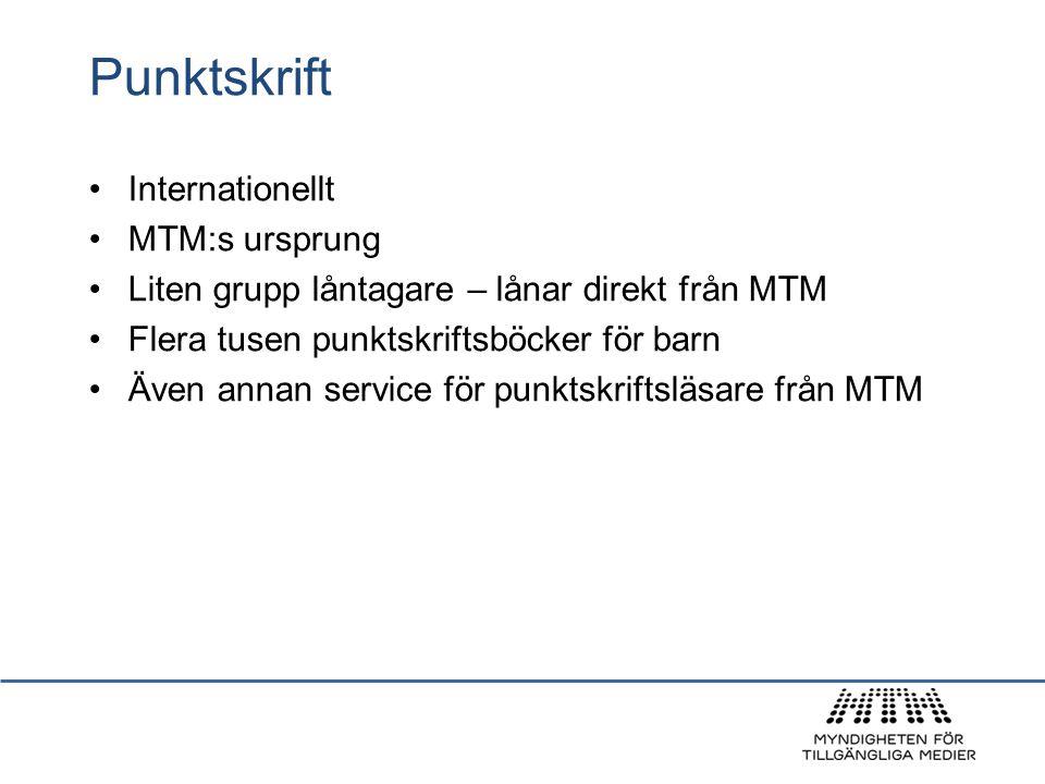 Punktskrift Internationellt MTM:s ursprung