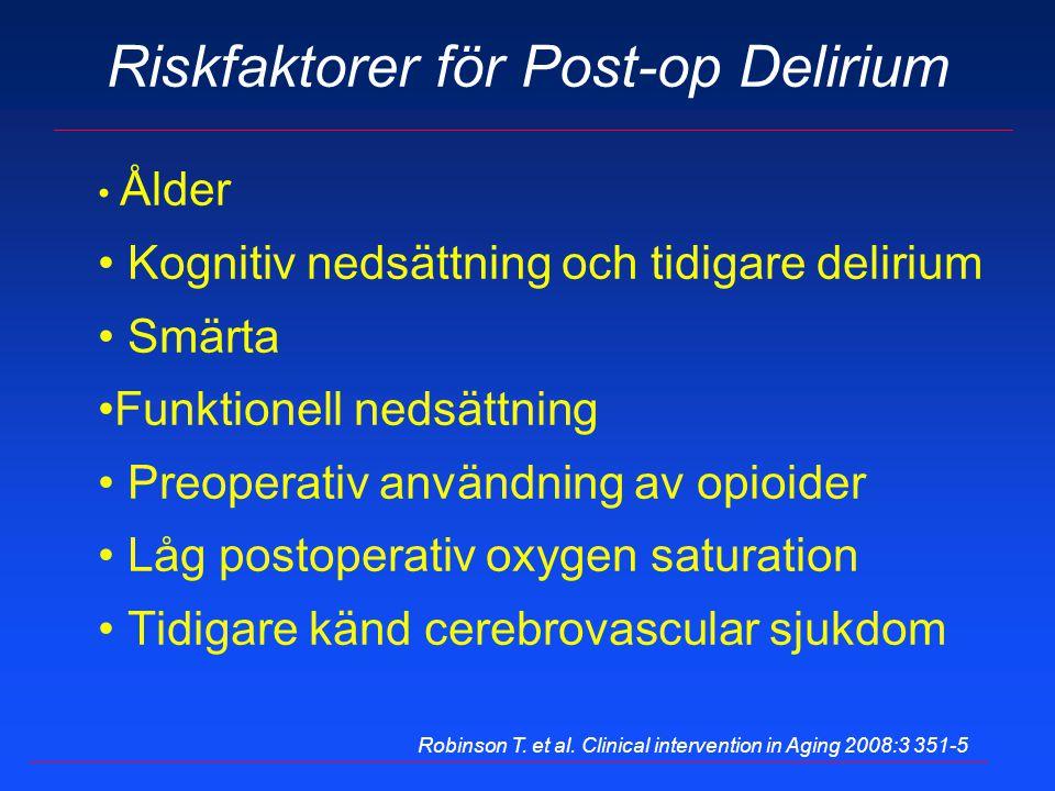 Riskfaktorer för Post-op Delirium