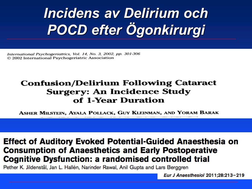 Incidens av Delirium och POCD efter Ögonkirurgi